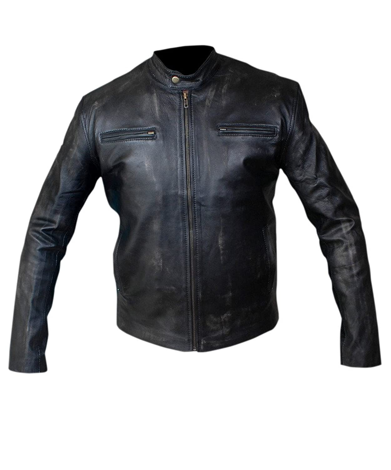 F&H Men's Mark Wahlberg Contraband Genuine Leather Distressed Jacket