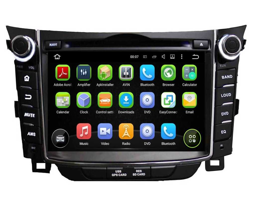 2 Din 7 pouces Android 5.1.1 Lollipop stéréo de voiture pour Hyundai I30 2011 2012 2013 2014,DAB+ radio 1024x600 écran tactile capacitif avec Quad Core Cortex A9 1.6G CPU 16G flash et 1G de RAM DDR3 GPS N