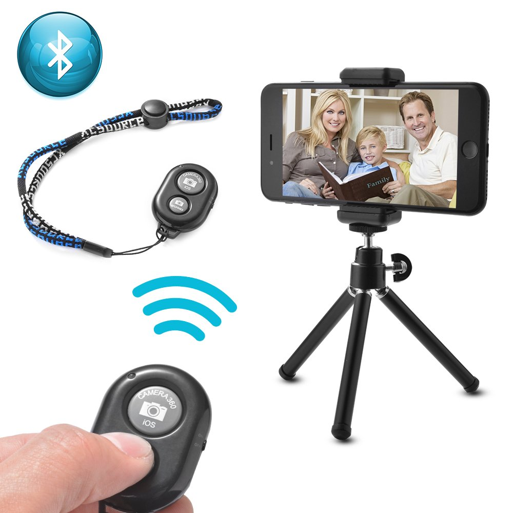 MaxLLTo Camera Mini Tripod Stand Holder Bluetooth Shutter Remote for iPhone 7 6S Plus 6S 6 Plus 6 5S Android Samsung Galaxy S6 S5 Note 4 Support Photo & Video