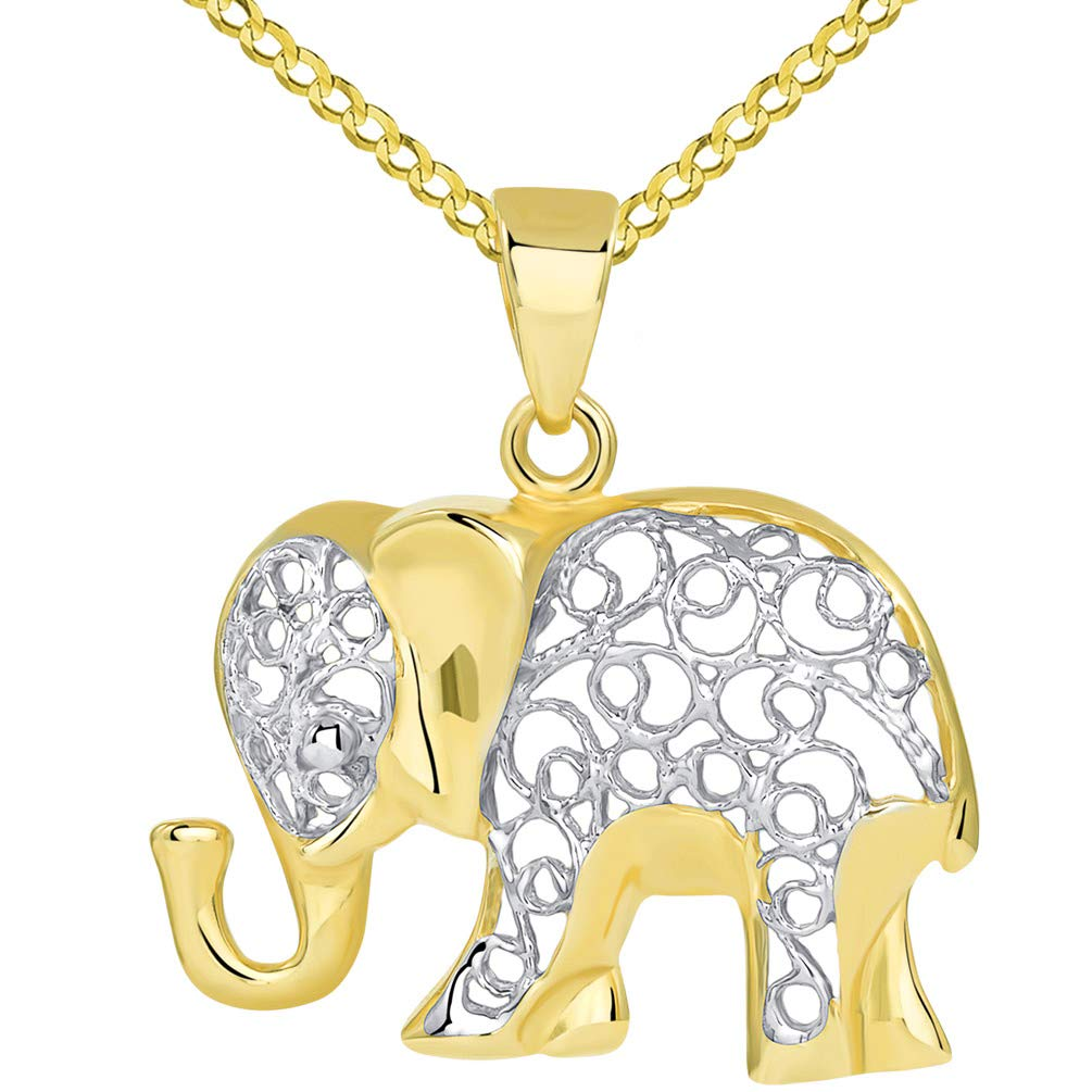14k Yellow Gold Elegant Filigree Two Tone Elephant Pendant with Cuban Chain Necklace, 16''