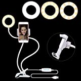 Selfie Light Ring per Youtube Facebook Live Stream, [360] girevole braccio flessibile supporto, lampada da tavolo per iPhone 7,6/Plus, Samsung, HTC, Huawei