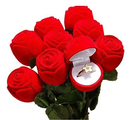 Red Rose Jewellery Gift Box Case Velvet Satin Wedding Anniversary