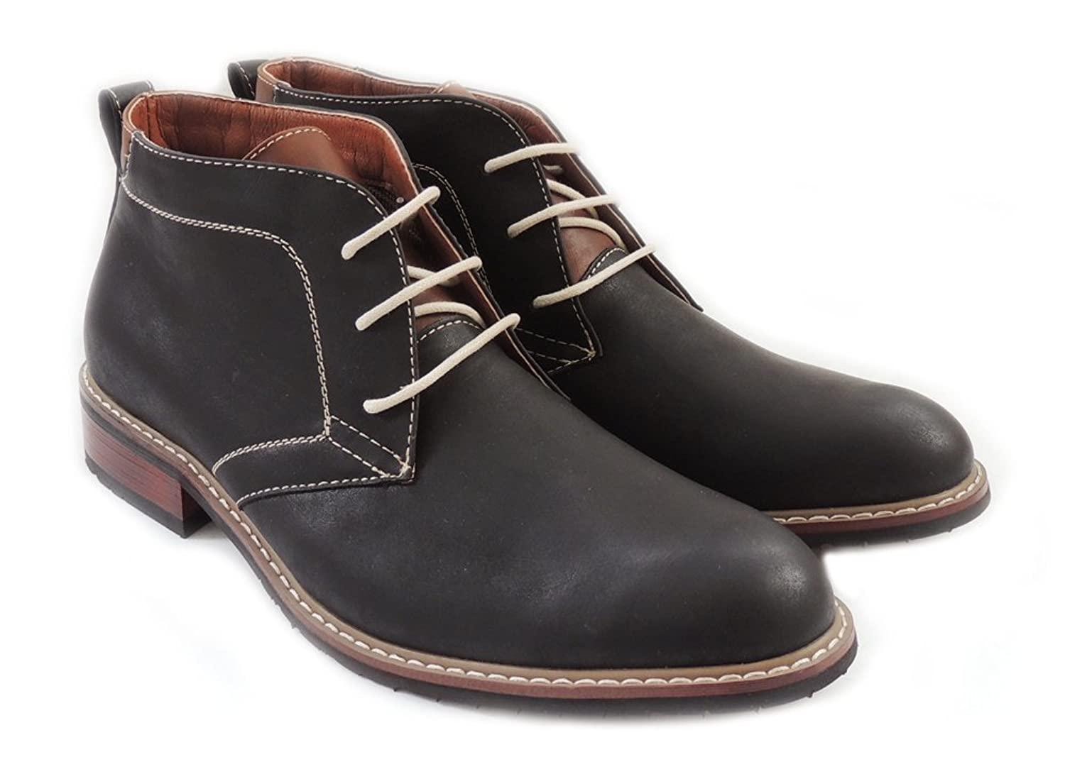 NEW FASHION MENS ANKLE BOOTS LEATHER LINED CHUKKA LACE UP DRESSY SHOES MFA506008 BLACK