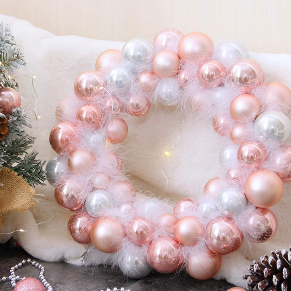 Garneck Christmas Decoration Pink Christmas Ball Ornament Wreath for Front Door Window Hanging Christmas Decor