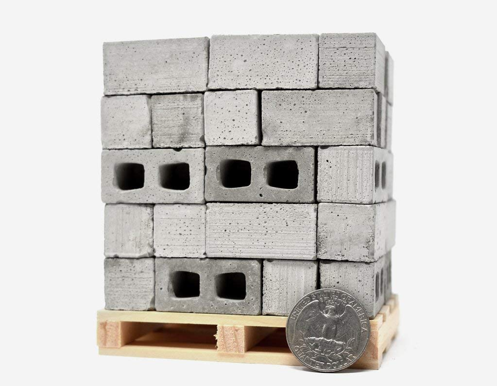 1:12 Scale Miniature Cinder Blocks - 50pk + Pallet by Mini Materials