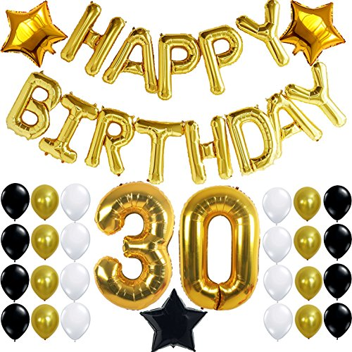 30th Birthday Party Decorations Kit Happy Letters Gold Number BalloonsGold Black And White Latex Balloons 30 Perfect Years Old