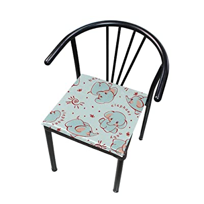 "Bardic HNTGHX Outdoor/Indoor Chair Cushion Cute Elephant Pattern Square Memory Foam Seat Pads Cushion for Patio Dining, 16"" x 16"": Home & Kitchen"