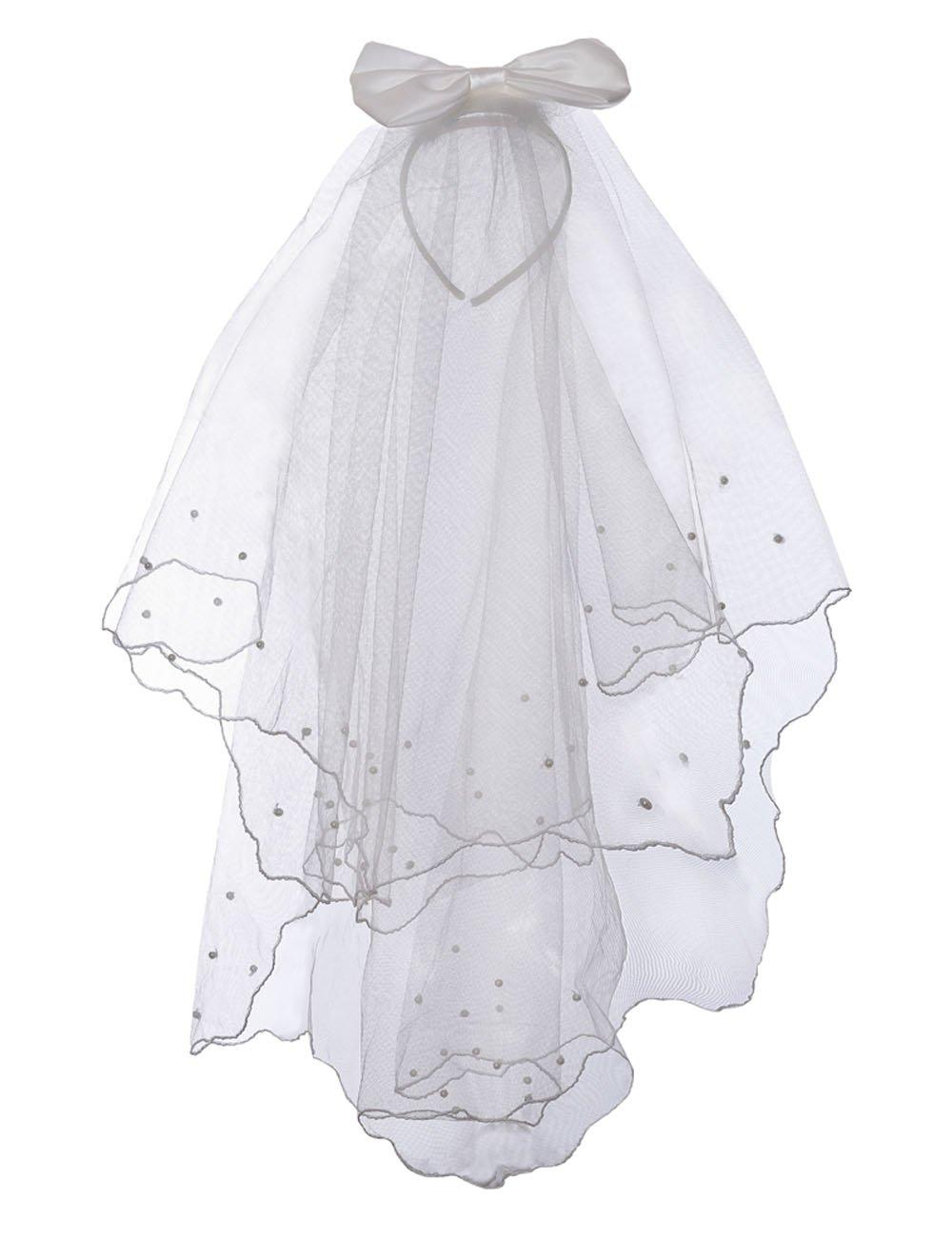 Flower Girls White Catholic Religious First Communion Veil Headband with Bow (One size, White (Head Band))