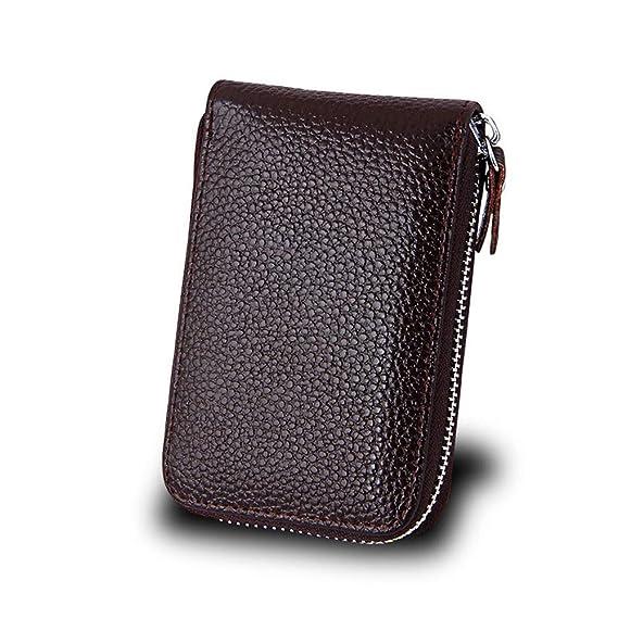 YuFLangel Cartera para Señorita Monedero Monedero Compacto Monedero de la Caja de la Tarjeta de crédito de Cuero Genuino Mini Billetera para Tarjetas de ...