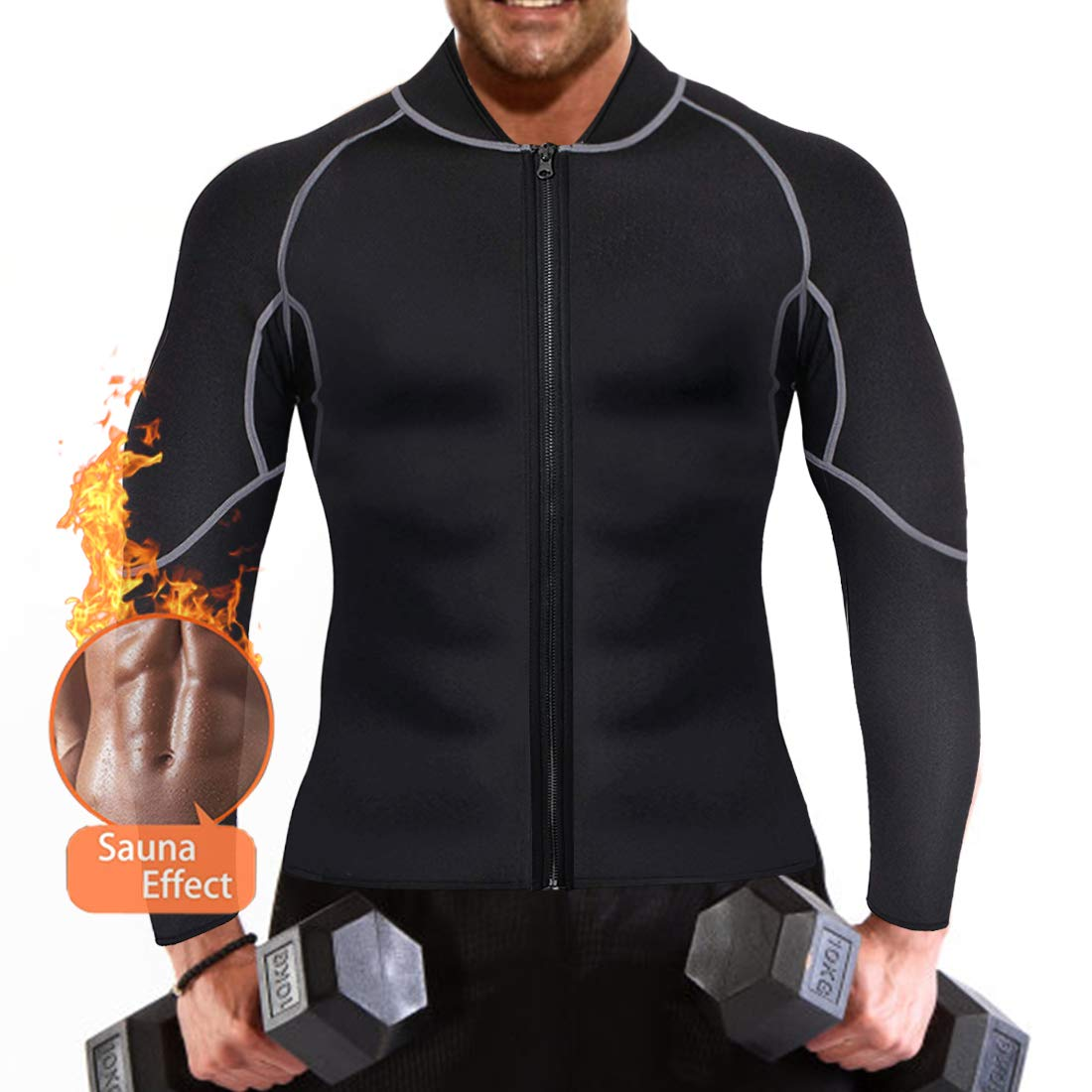 QUAFORT ネオプレン製 減量サウナスーツ メンズ スリミングウエスト トレーニング ボディシェイパー トレーニングシャツ ジャケット ジムトップウェア 長袖 XXX-Large ブラック B07KP26QTQ