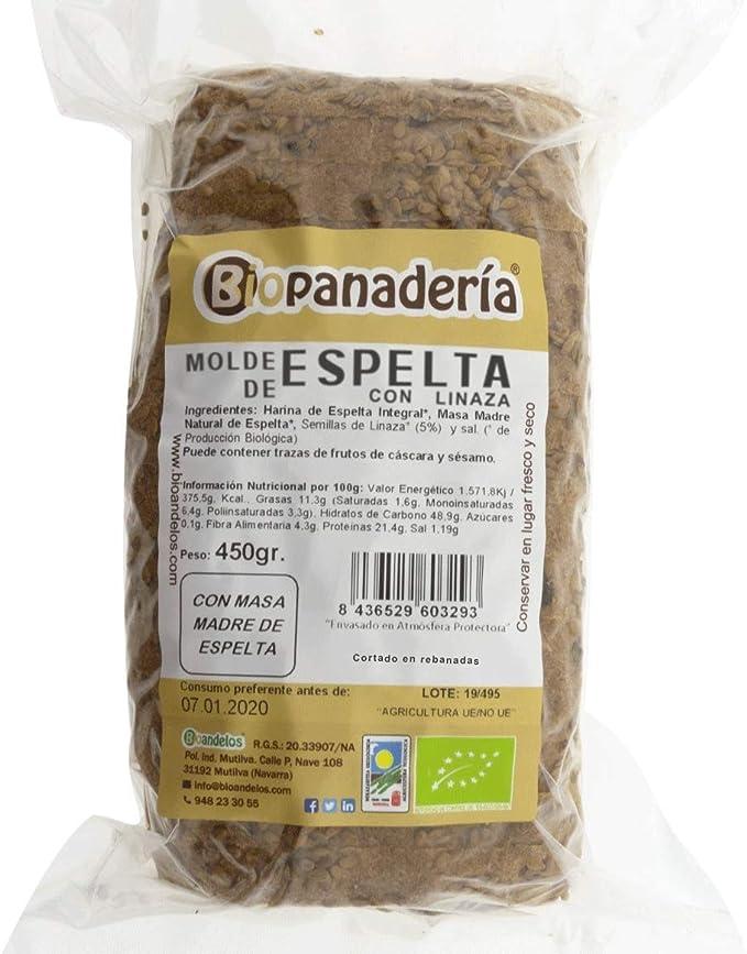 Biopanadería Pan de Molde Integral con Semillas Ecológico Elaborado con Masa Madre Natural (Espelta con Linaza): Amazon.es: Alimentación y bebidas