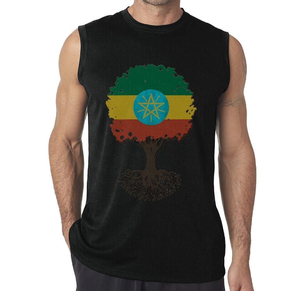 NRYDYMM Men Tank Top Tree of Life with Ethiopian Flag Exercise Tank 100/% Cotton Bodybuilding Vest