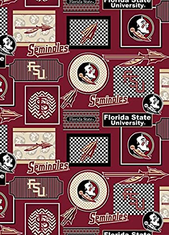 FLORIDA STATE FSU COTTON PATCHES FABRIC ALL OVER PATTERN-FLORIDA STATE SEMINOLES COTTON PRINTED FABRIC-NEWEST DESIGN-SOLD BY THE - Florida State Fleece Fabric