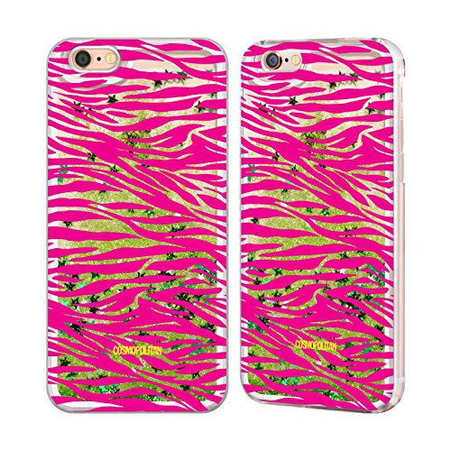 Official Cosmopolitan Pink Zebra Animal Skin Patterns Green Liquid Glitter Case Cover for Apple iPhone 6 / 6s