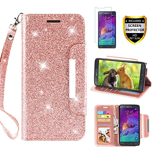 Galaxy Note 4 Case, with Screen Protector, TPU + Leather Bling Glitter Flip Wallet Case with Kickstand Credit Card Holder Slot for Girls/Women for Samsung Galaxy Note 4, Rose Gold (Samsung Galaxy Note 4 Wallet Case)