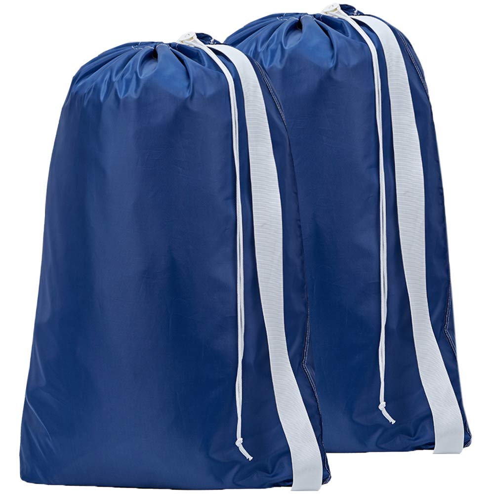 HOMEST 2 Pack XL Nylon Laundry Bag with Strap, Machine Washable Large Dirty Clothes Organizer, Easy Fit a Laundry Hamper or Basket, Can Carry Up to 4 Loads of Laundry, Blue, Patent Pending