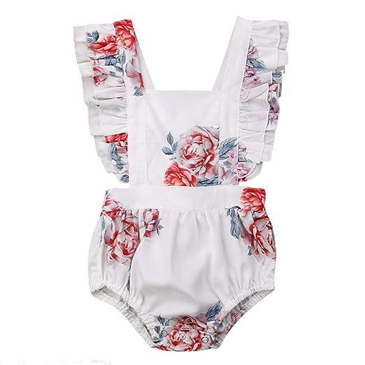 522c32edbac Infant Baby Toddler Girls Floral Ruffle Bubble Romper Jumpsuit Summer Beach  Sunsuit (White