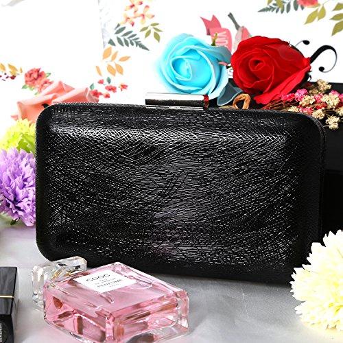 Line Bag Women Clutch Oblong Purse Black Fashion PU Evening Handbags Dark Pattern OqwBxXg