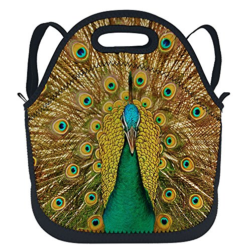 oFloral Peacock Feather Waterproof Thermal Insulated Neoprene Lunch Bag Tote Lunchbox Lunchboxes Container Backpack with Shoulder Strap for Children Kids Teens Boys Girls Women Golden -