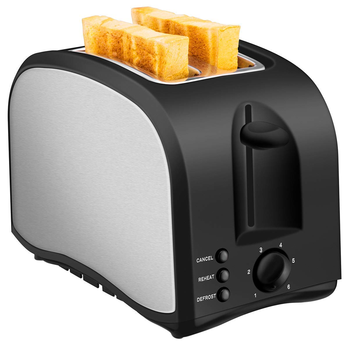 2 Slice Toaster, Chitomax Toasters with 2 Extra-Wide Slots, 2 Slot Toasters, Top Rated Best Prime, Stainless Steel with Pop Up Reheat Defrost Functions, 6-Shade Control, Removable Crumb Tray