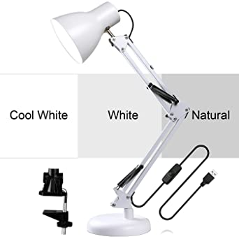 Glcon Dimmable Swing Arm Desk Lamp Metal Architect Led Table Lamps