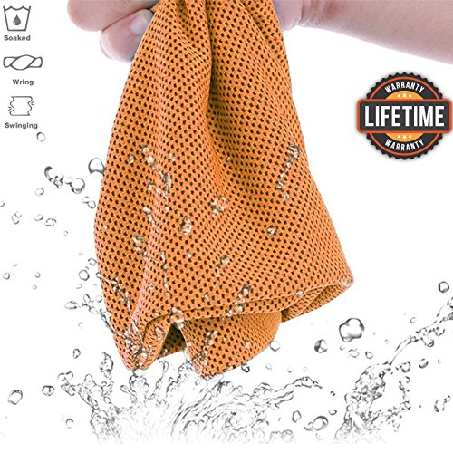 Evomax Cooling Towel, Cooling Towel For Neck Chilling Towel, Cool Towel for Instant Cooling Relief, Chilling Neck Wrap, Cold Scarf for Sports, Workout, Fitness,Gym, Yoga, Pilates, Travel & More Orange