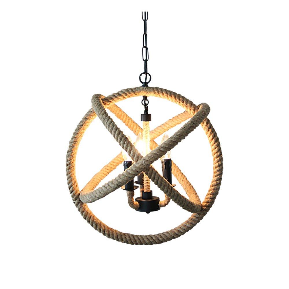 Jia He Kronleuchter Nordischer antiker kreativer industrieller Wind-Kugel-Hanfseil 3 5 geht den Leuchter voran, der für Bar Restaurant   Wohnzimmer Café Größe ist  35 45   55cm im Durchmesser