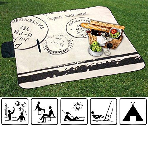 XL-Picknick-Decke-Stranddecke-Campingdecke-Isomatte-besch-Unterseite-STEMPEL-natur