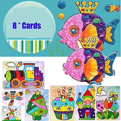 (DIY 8 Pack Kids Tissue Sticker Art Crafts Set Cartoon Preschool Educational Craft for Preschooler)
