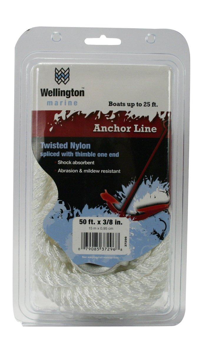 Wellington N1824U0050 Twisted Nylon Anchor Line 3//8 by 50-Foot