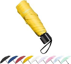 TradMall Mini Travel Umbrella, Portable Lightweight Compact Parasol with 95% UV Protection for Sun & Rain