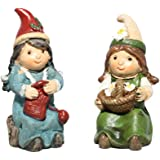 Giftcraft Set of 2 Miniature Fairy Garden Gnomes - Basket of Flowers and Knitting