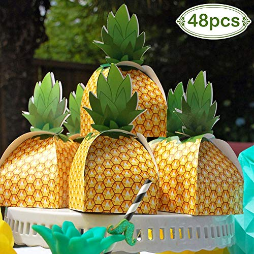 AerWo 48pcs Pineapple Favors Boxes 3D Large Pineapple Gifts Boxes for Hawaiian Tropical Party Decorations Luau Pineapple Party Supplies