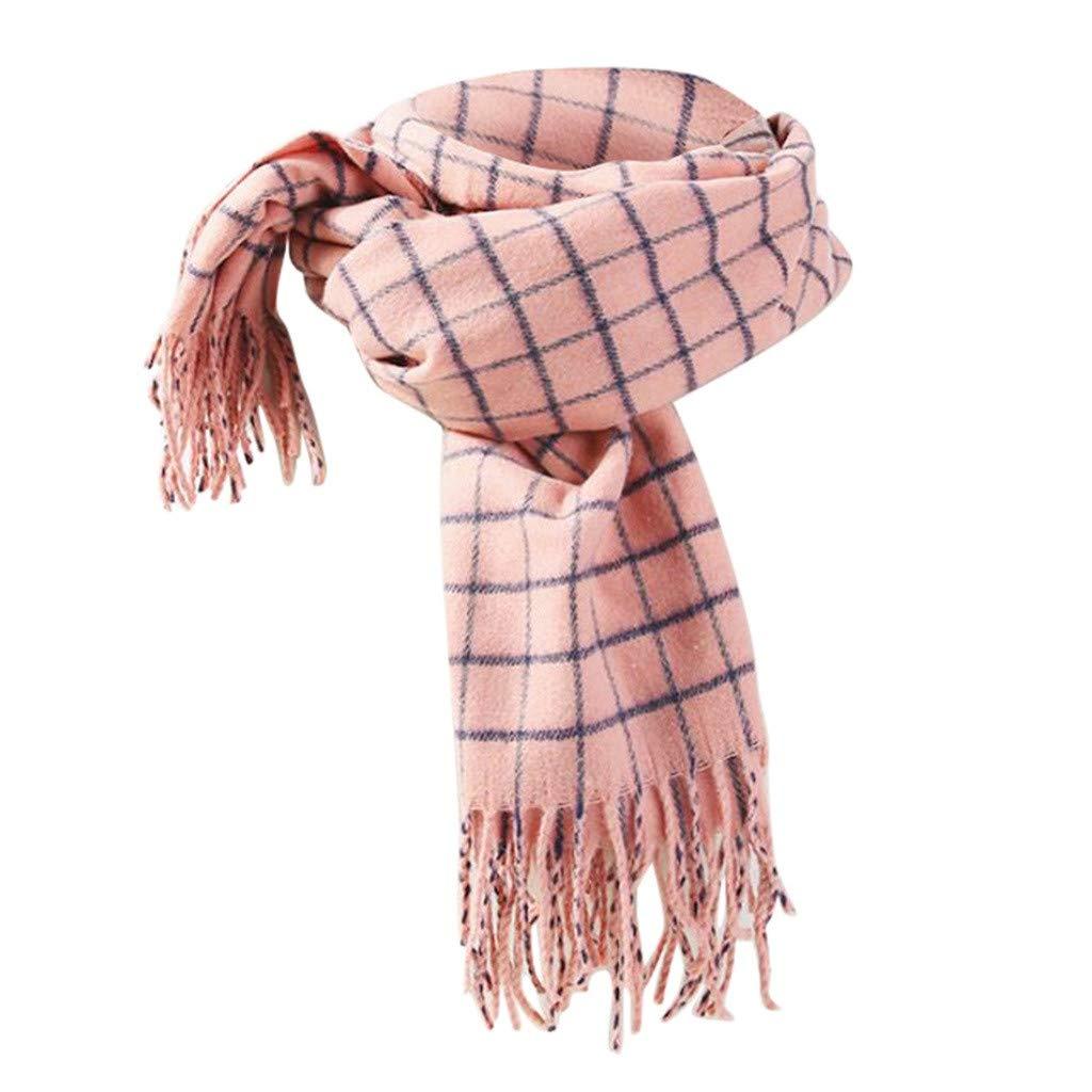 Kumike Fashion Men Women's Plaid Tassel Scarf Warm Thickening Trend Wild Knit Scarf Shawl Bib