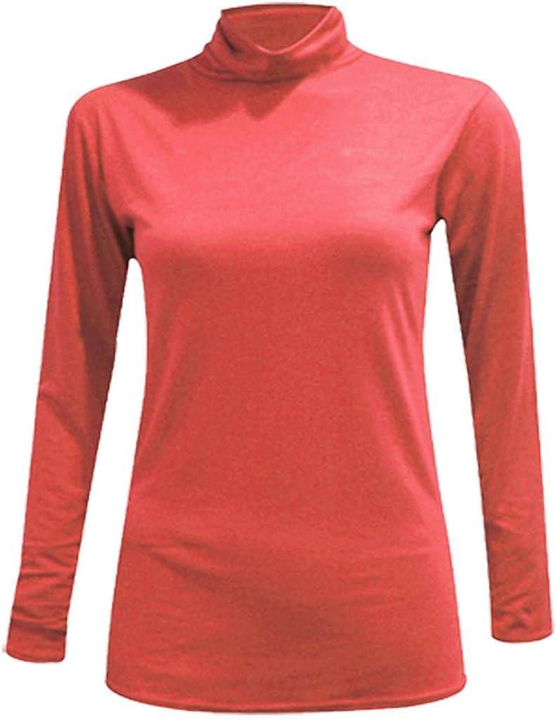 WearAll Mujeres Tallas Grandes Manga Larga Stretch Polo Cuello Bodycon Top