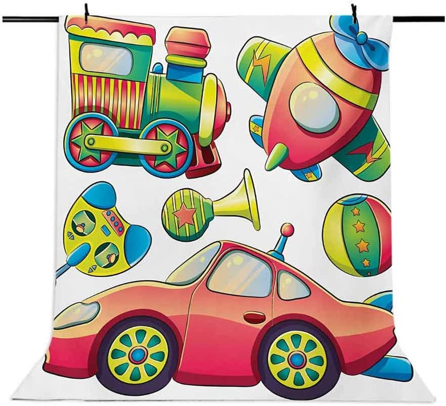 10x15 FT Backdrop Photographers,Funny Transportation Toys with Train Car Airplane Horn Balls Auto Tire Cartoon Design Background for Photography Kids Adult Photo Booth Video Shoot Vinyl Studio Props