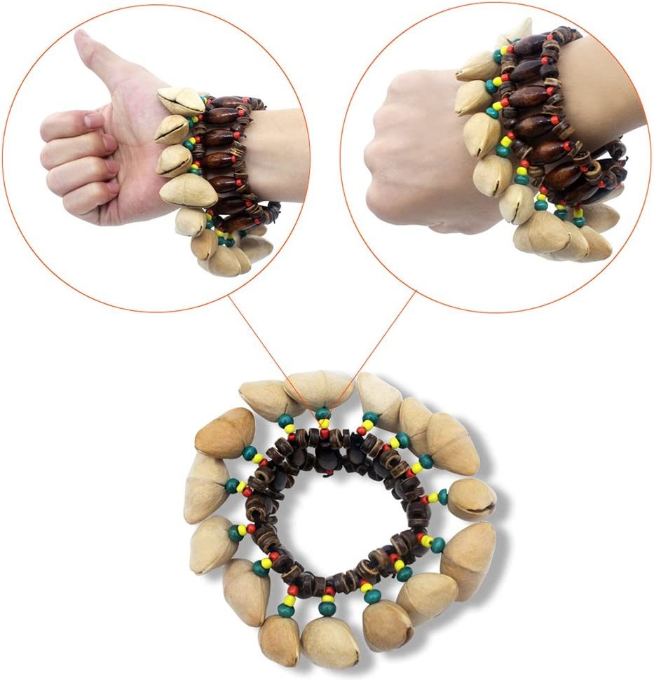 ammoon Nut Shell Bracelet Handmade Handbell for African Drum accessories Conga Percussion