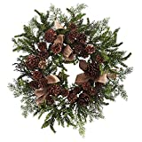 Nearly Natural Pine & Pine Cone Wreath with Burlap Bows, 24'' , Green/Brown