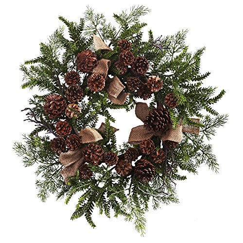 "Nearly Natural Pine & Pine Cone Wreath with Burlap Bows, 24"" , Green/Brown"