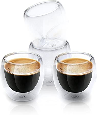 Espresso Shot Glass Cups For All Coffee Lovers 80ml (2.7 oz) Double Walled Heat Resistant Clear Coffee Shots | Dishwasher Safe & Chic | Set Of 4 |