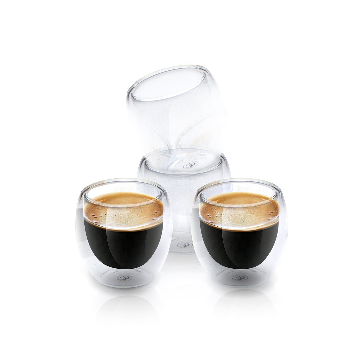 Espresso Shot Glass Cups For All Coffee Lovers - 80ml (2.7 oz) Double Walled Heat Resistant Clear Coffee Shots | Dishwasher Safe & Chic | Set Of 4 | Gift Box and Bonus Ebook