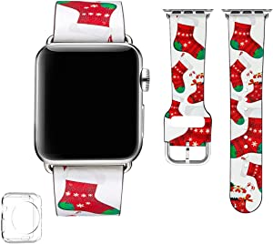 POWER PRIMACY Bands Compatible with Apple Watch Band 38mm 40mm 42mm 44mm, Top Grain Leather Smart Watch Strap Compatible for Men Women iWatch Series 6 5 4 3 2 1,SE (Christmas Sock/Silver,42mm/44mm)