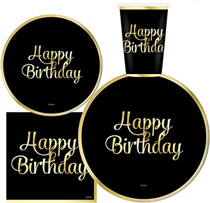 9 Dinner Paper Plates Serves 30 Gold Foil 3 Ply Napkins 12 oz Cups 7 Dessert Paper Plates Complete Party Pack  Happy Birthday Party Supplies Happy Birthday Party Supplies