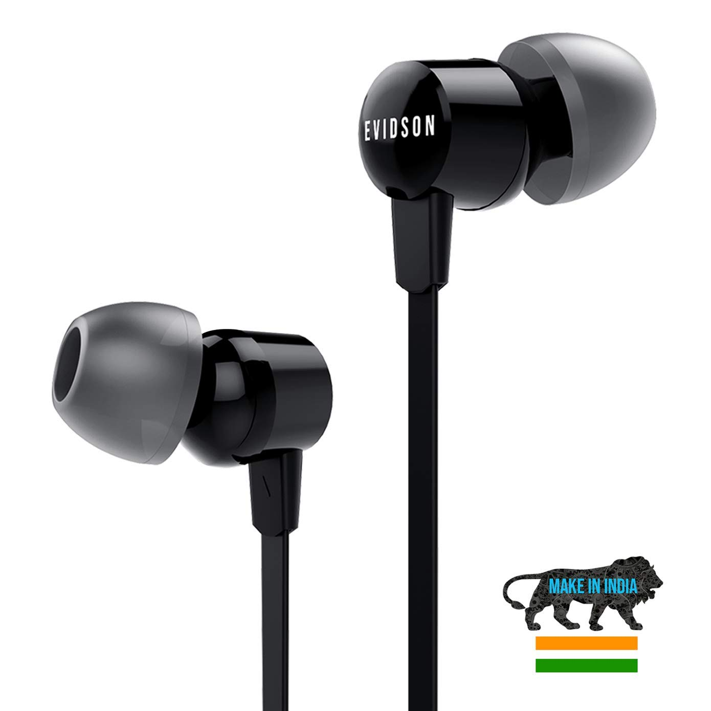 Evidson Vibe Black In-Ear Wired Earphones With Mic, 2X Bass,