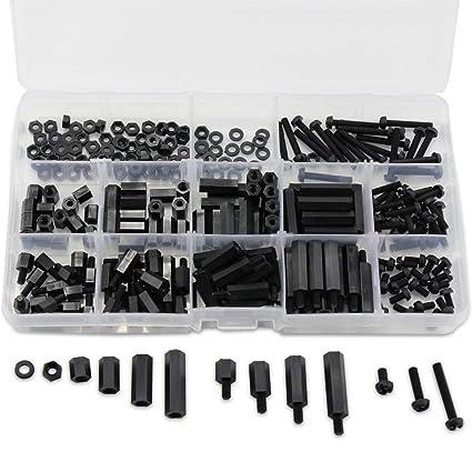Femelle Hex Entretoise Vis Écrou Assortiment Kit avec boîte M3 Nylon Noir Mâle