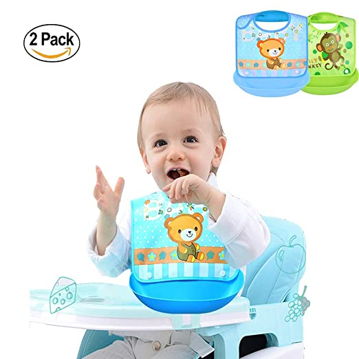 6PCS Unisex Baby Infant Toddler Triangle Bib Cotton Soft Bib with Teether Toy