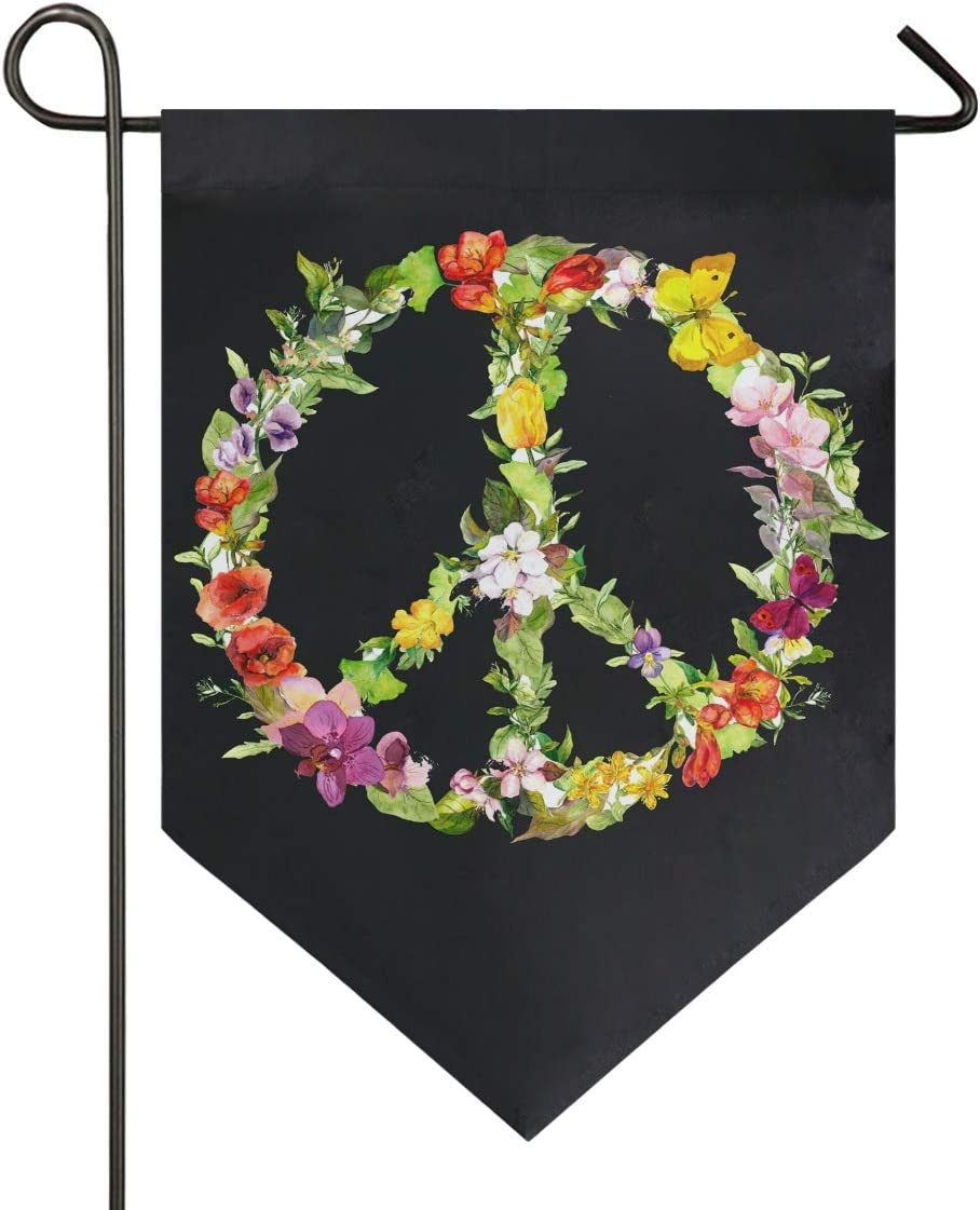 Aflyko Peace Sign Garden Yard Flag Double Sided Outdoor Decorative Flower Garden FlagBanner for Home Lawn Porch Decor, 12x18.5 Inch