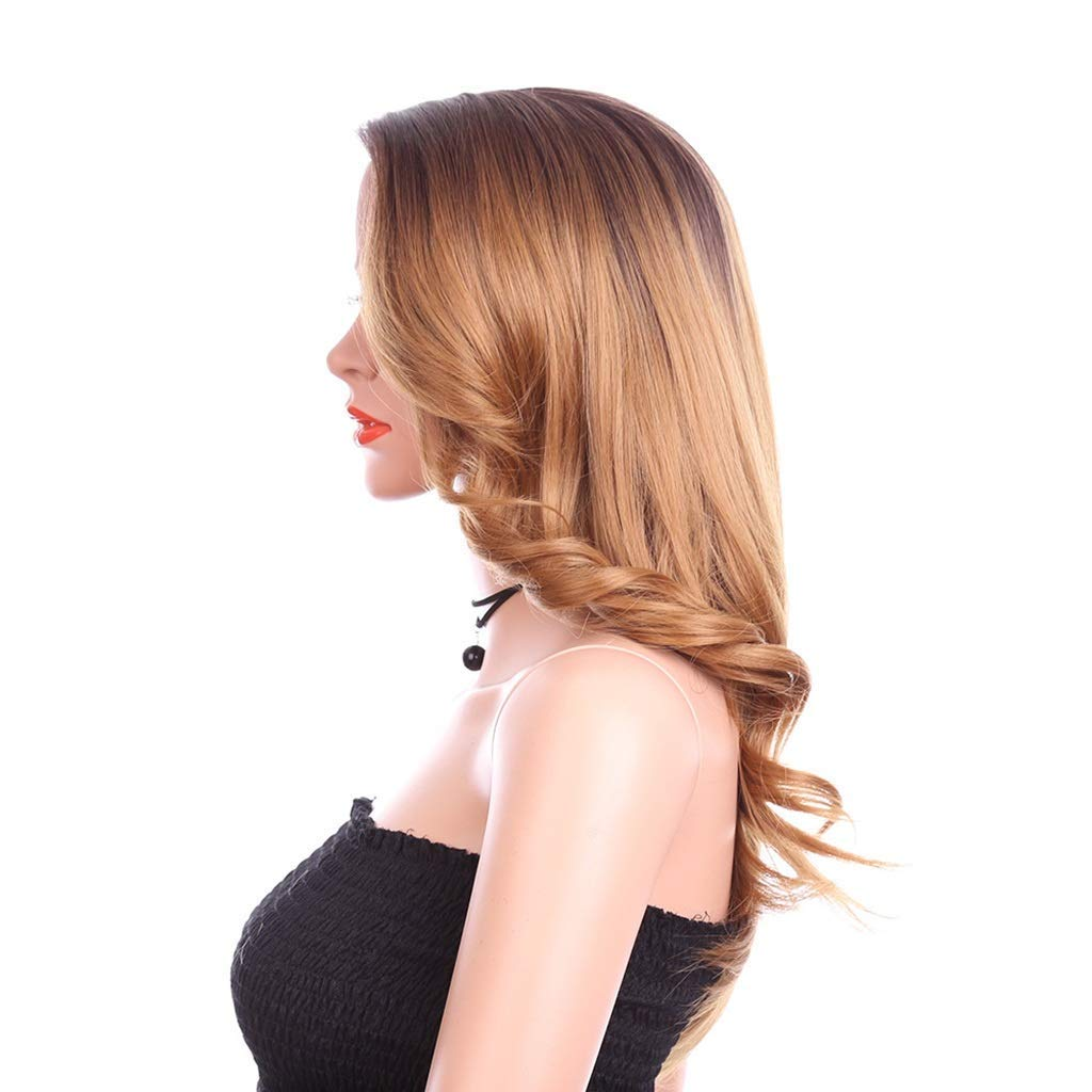 DUHUI Wigs Parrucca di Pizzo Sintetica di Sicurezza Lungo Pizzo Ondulato a 22 Pollici decente Spazio separazione Pizzo Trasparente Marronee (55 cm)
