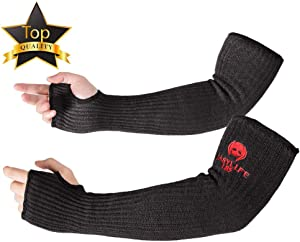 [Upgrade Size] Arm Protection Sleeves with Thumb Hole, MOKEYDOU [18 inch Long, 12-18 inch Wide] Safety Knit Sleeves, Cut, Heat Resistant Protective Mechanic Sleeves for Men, Women 1Pair - Black