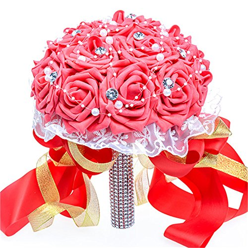 Artificial Flower Foam Roses Bridal Wedding Party Bride Bouquet Rose Red - 4